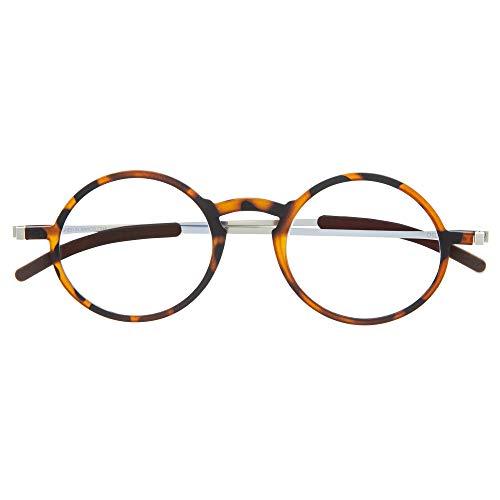 DIDINSKY Gafas de Lectura Graduadas Ultra Delgadas para Hombre y Mujer. Gafas de Presbicia muy Ligeras con Lentes con Protección Luz Azul. Havana +2.0 - MACBA ROUND
