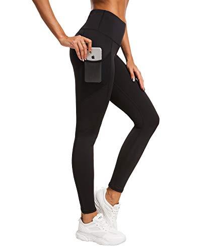 QUEENIEKE Damen Yoga Leggings Mesh Mittlere Taille 3 Handytasche Gym Laufhose Farbe Schwarz Größe S(4/6)