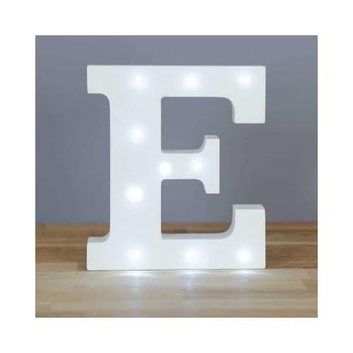 Up in Lights Decorative LED Alphabet White Wooden Letters - Letter E