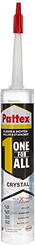 Pattex Ni Clou Ni Vis Tous Matériaux Crystal, colle de fixation de haute qualité, mastic transparent multi-supports, colle forte multi-usages, Cartouche de 290 g