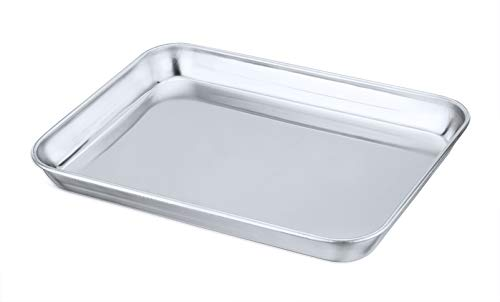 Mini Toaster Oven Tray Pan, P&P CHEF Stainless Steel Broiler Pan, Small Rectangle 9''x7''x1'', Non Toxic & Heavy Duty, Easy Clean & Dishwasher Safe