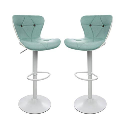 Halter Adjustable Height Stool Chairs, Counter Height Swivel Bar Stools, Modern Upholstered with Diamond Stitch Chair, Stools for Bar or Kitchen Counter, Barstools Set of 2, Green and White