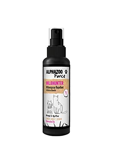alphazoo MilbHunter Milbenspray für Hunde & Katzen 100 ml, Spray gegen Milben, Grasmilben, rote Vogelmilbe, natürlicher Milbenstop auf Basis ätherischer Öle, Anti-Milben