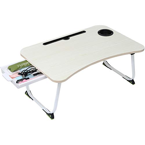Foldable Laptop Table | Portable Breakfast Serving Bed Tray Height Adjustable Notebook Computer Stand Desk for Reading Writing on Couch Sofa (from US, Khaki)
