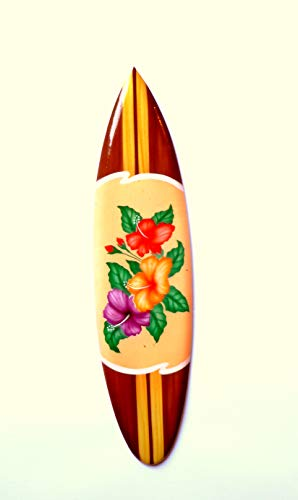 Asia Design Miniatur Dekosurfboard Surfbrett Holz Wellenreiten Höhe 30 cm inkl. Holzständer Dekoration # 7