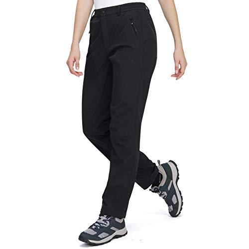 CAMEL CROWN Pantalones Softshell para Mujer Impermeables a Prueba de Vientos Pantalones Forrados de Lana Pantalones de Esquí con Aislamiento para Acampada Trekking Viaje Senderismo al Aire Lib