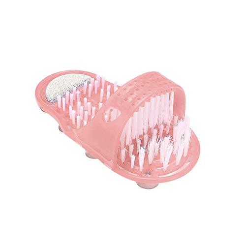 FouTP Fußbürste, Fußreiniger, Fußreiniger, Fußmassagegerät, Hausschuhe, für Badezimmerfüße mit Saugnäpfen, rutschfest, Rosa