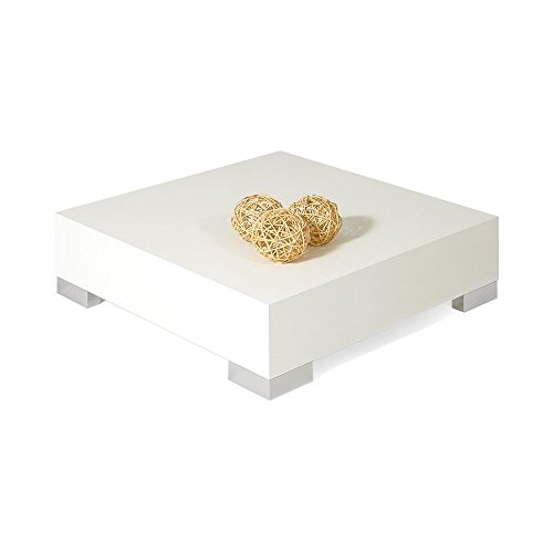 Mobilifiver Table Basse, iCube 60, Frêne Blanc, 60 x 60 x 18 cm, Mélaminé/Acier INOX satiné, Made in Italy