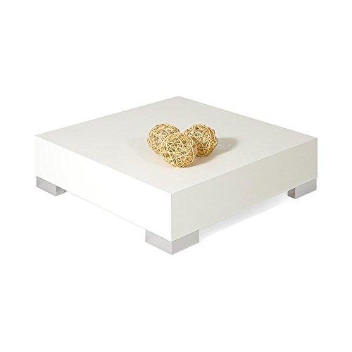 Mobili Fiver, iCube 60 Tavolino da Salotto, Legno, Frassino Bianco, 60 x 60 x 18 cm, Nobilitato/Acciaio Inox Satinato, Made in Italy, Disponibile in Vari Colori