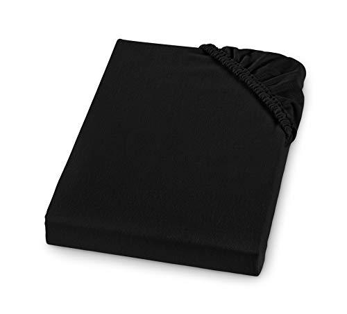 Sleepling Comfort - Sábana bajera ajustable de franela fina, fabricada en Alemania, 100% algodón, para colchones de hasta 23 cm de altura, con goma elástica, 100 x 200, color negro