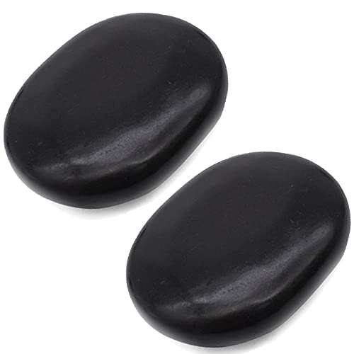 Hot Stones - 2 Extra Large Massage Stones Set (4 in x 3.15 in) (Sacrum or Belly) for Professional or...