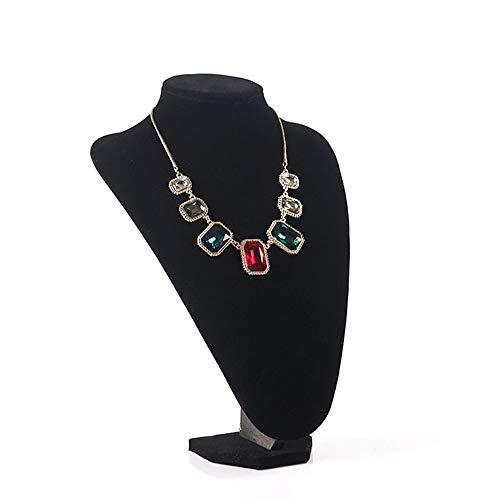 WyaengHai Schmuck-Staffelei aus schwarzem Samt mit Staffelei für Halsketten, Schmuck, große Aufbewahrungsbox für Ohrringe, Halsketten, Tischplatte, Halskettenhalter (Farbe: Schwarz, Größe: 29 x 20 cm)