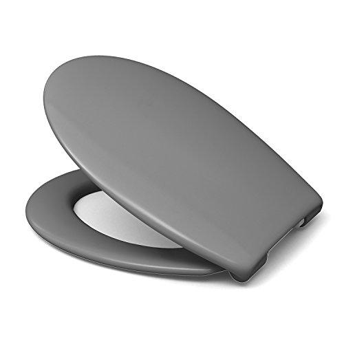 Sanifri 470011130 WC-Sitz Nera, Grau, inkl. SoftClose, einfach einhändig abnehmbar