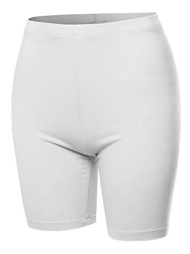 A2Y Basic Solid Cotton Mid Thigh High Rise Biker Bermuda Shorts White M