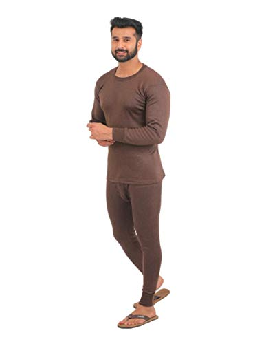 Alfa Oswal Men's Thermal Set(RN Upper+Lower)[90cm] +1 Pair Socks Free OswalThemalSet90_Assorted Color_Large
