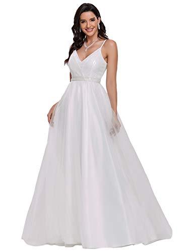 Ever-Pretty Brillante Vestido de Novia A-línea Largo para Mujer Escote en V...