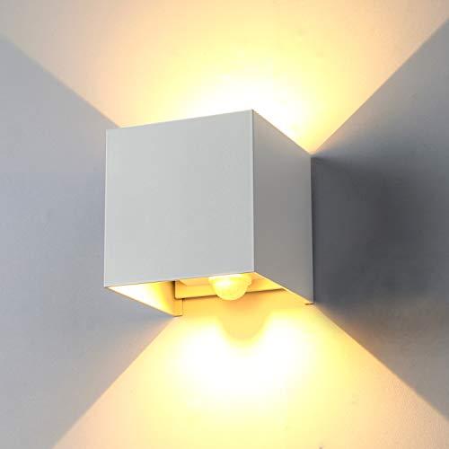 ENCOFT 12W Lámpara de Pared Exteriores Interiores con Sensor de Movimiento Moderno, Aplique de Pared COB LED Luz Blanco Cálido 3000K Ángulo Ajustable, IP67 Impermeable Aluminio Blanco