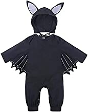 Kids Clothing Autumn Bat Long Sleeve Jumpsuit Baby Halloween Costume with Hat, Height:90cm, Color:Black Boys Clothing