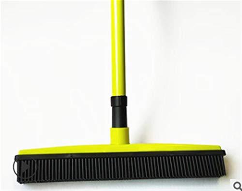 Limpiar Sweeper SCRAEGEE Bristle Push Push Broom Escoba de Goma Escoja de Pelusa Dispositivo de eliminación Telescópicas (Color : Yellow)