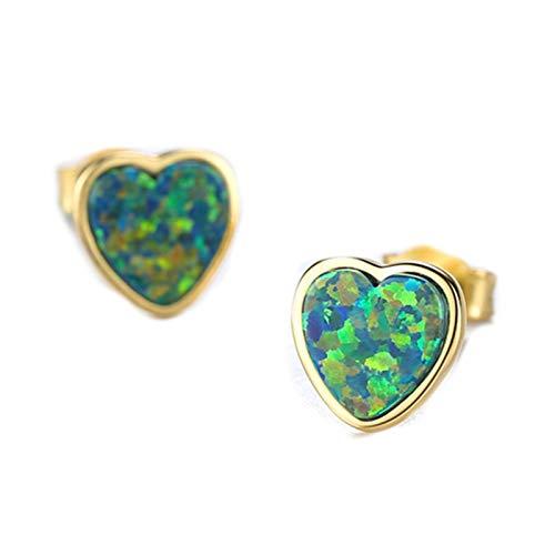 Beydodo Pendientes Plata Perlas 925 Ley Mujer,Pendientes Mujer Colorido Corazón con Ópalo Colorido