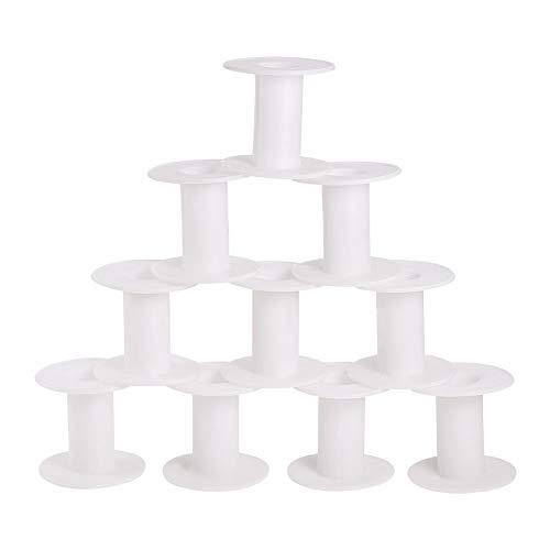PandaHall Elite 20 carretes de plástico blanco de 3,8 cm vacíos carretes de hilo de hilo para manualidades, cuerda de cuerda y cadena de rollo