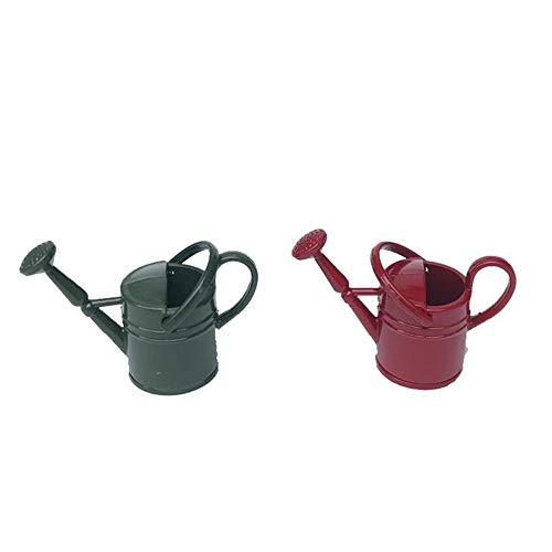 Egurs 2 stuks poppenhuis miniatuur tuingereedschap gietkan pot voor 1/12 (groen + rood)