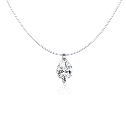 NewL - Gargantilla invisible de plata de ley 925 para mujer, diseño de gota de agua, cuadrada, triángulo, colgante de bijoux femenino