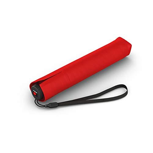 Knirps Taschenschirm Ultra I.030 Slim Manual - Leichtester Knirps mit nur 115 g - Exklusives Griff-Design - Sturmfest - 21 cm - Rot
