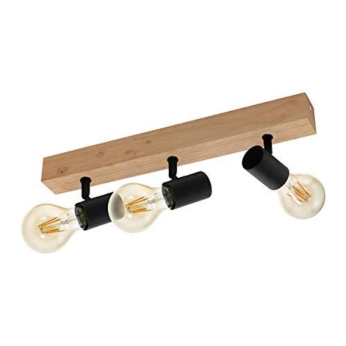 EGLO Deckenlampe Townshend 3, 3 flammiger Vintage Deckenspot im Industrial Design, Retro Lampe aus Stahl und Holz, Farbe: Schwarz, braun, Fassung: E27