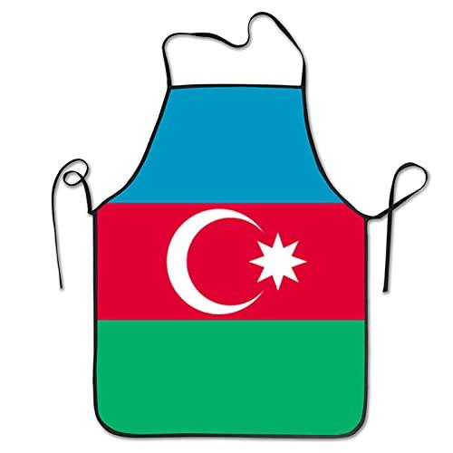NIUPEE Latzschürze ohne Tasche Aserbaidschan-Flagge lustig niedlich Schürzen Kochen Küche BBQ Schürzen für Männer Frauen Koch Schwarz