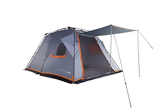 Lumaland Where Tomorrow 4-5 Personen Zelt mit Sonnendach - 300x395x200 cm - Pop Up Wurfzelt - Familienzelt - ideal für Camping Festival etc. - wasserdicht, robust, Quick-Up-System - Grau
