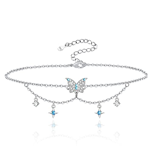 Butterfly Ankle Bracelets for Women 925 Sterling Silver Butterfly Pendant Adjustable Foot Anklet Bracelet Jewelry Sea Beach Layered Butterfly with Star Anklets Birthday Gift for Mom Women Wife Girls