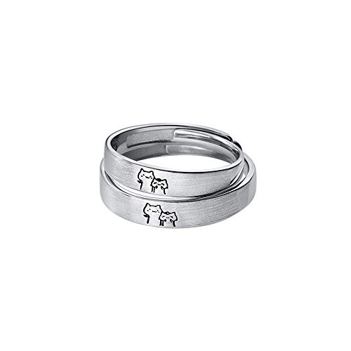 Lovely Cat His & Hers Couple Rings S925 Sterling Silver Adjustable Anniversary Promise Wedding Ring Endless Love Finger Band Jewelry for Women Men
