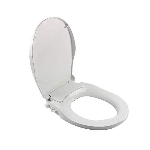 WUPYI Non-Electric Bidet Toilet Seat V/O/D Self-Cleaing Nozzle Sprayer Fresh Water Spray Mechanical Bidet Toilet Seat Flow Adjust (D-Shape)
