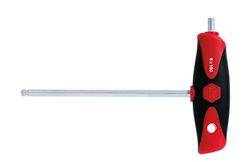 Wiha ComfortGrip Pennensleutel met dwarsgreep, zeskant-kogelkop, draaibaar voor moeilijk bereikbare gebieden, met zijslijtage, mat verchroomd (28376) 8 x 200 mm