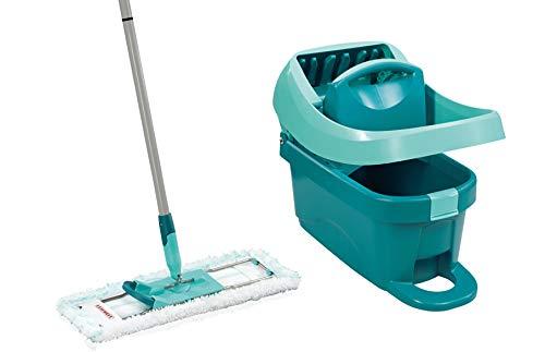 Leifheit Set Wischtuchpresse Profi XL mit Bodenwischer und Rollen, Putzen mit sauberen Händen und ohne Bücken