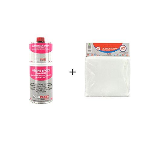 Soloplast R123 Pack mit Epoxidharz, 1kg, mitRoving-Glasfaser-Tuch, 160g/m²