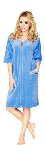 Damen Leichte Baumwolle Bademantel, Kurz Lange, Armel Und Reissverschluss Schliessen (Hellblau, 40)
