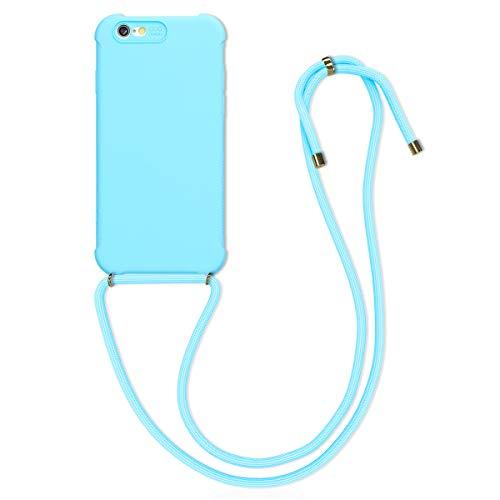kwmobile Hülle kompatibel mit Apple iPhone 6 / 6S - mit Kordel zum Umhängen - Silikon Handy Schutzhülle Hellblau