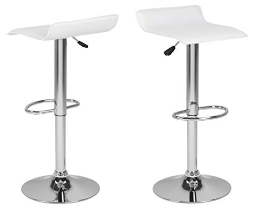 AC Design Furniture Donald Taburete de Bar, Chapa, Blanco, B: 38 x T:39 x H: 86 cm
