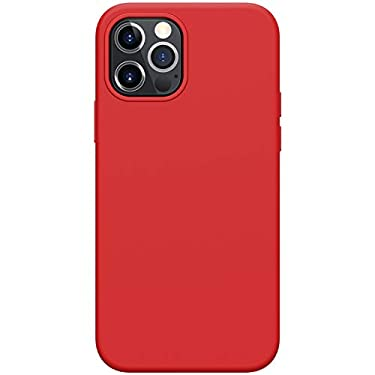 """Nillkin Case for Apple iPhone 12 / Apple iPhone 12 Pro (6.1"""" Inch) Flex Pure Case Liquid Silicon Finish Anti Finger Print with Inner Microfibre Red Color"""