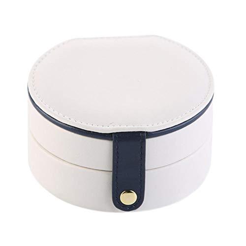 XHNNI Caja de almacenamiento portátil de joyería con espejo de cuero de 2 capas de gran capacidad, organizador de joyas para niñas, mujeres, anillos, collares, pendientes, pulseras, color blanco
