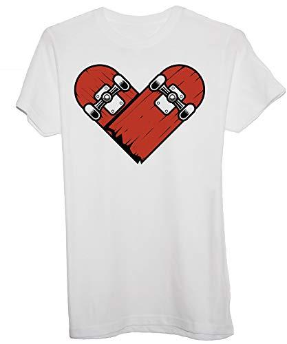 New Indastria T-Shirt Skate Heart Tattoo Style - Skater Life - Bambino-XS-Bianca