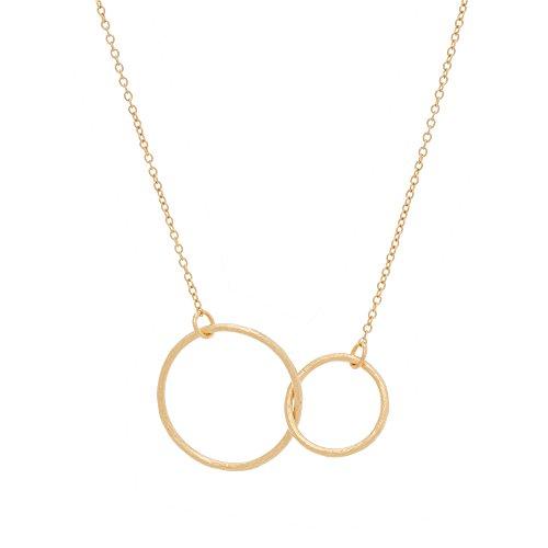 Pernille Corydon Damen Halskette mit zwei Ring-Anhängern mit matter Oberfläche aus 925 Sterling Silber 18 Karat vergoldet mit variabler Kettenlänge 42,5-49,5 cm dank Verlängerungsstück - N224g