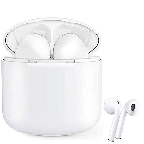 Auriculares Inalámblicos Bluetooth 5.0 Cascos, Mini TWS Sin Cable Cascos In-Ear con Micrófonos Dual, Audífonos Deportivos con Caja de Carga 24 hrs, compatibles con TV, Smartphone, Tablets