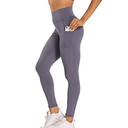 ZAYZ Leggings Deportivos de Cintura Alta para Mujer Pantalones de Yoga No Transparentes con Bolsillos para Gimnasio, Ciclismo, Yoga, Correr, Ocio Diario (Color : Blue, Size : Medium)