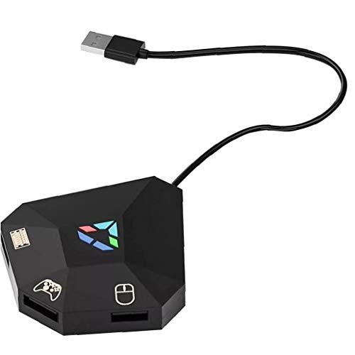 Sanfiyya Teclado Ratón Adaptador del convertidor del regulador Gamepad portátil Ligero Juego del Enchufe Negro Gaming Headset