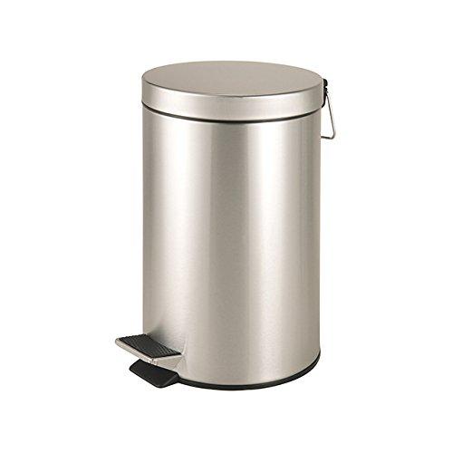 Ribelli Abfalleimer ca. 12 L silberner Mülleimer - robuster für Küche üder Büro - aus Edelstahl rostfrei glänzend mit Deckel + Kunststoffeinsatz