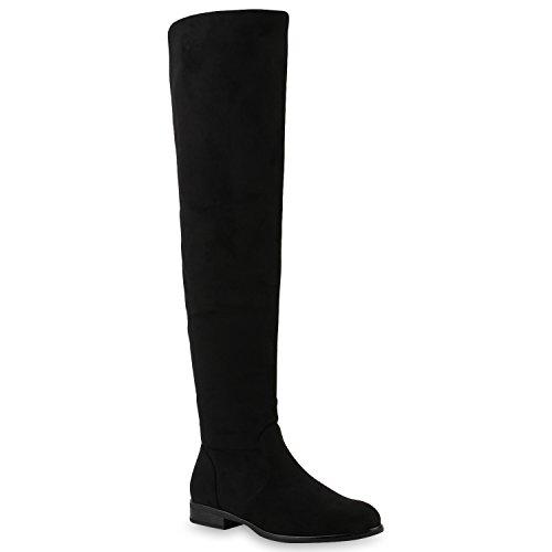 Damen Stiefel Overknees Wildleder-Optik Schuhe 145846 Schwarz Arriate 37 Flandell
