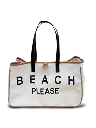 Lowest Prices! Getaway Canvas Tote Bag, Canvas Beach Bag with Leather Straps, Canvas Travel Tote, Be...